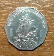 Восточные Карибские Штаты 1 доллар 1989 Корабль . Парусник Очень
