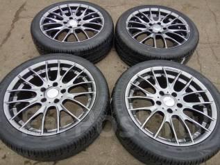 Тёмный графит Monza Japan R17 +шины 215/45 Goublestar. 7.0x17 5x114.30 ET38