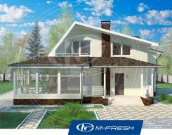 M-fresh Audi style (Проект дома с верандой). 200-300 кв. м., 2 этажа, 4 комнаты, бетон