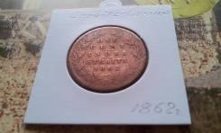 Редкость! Великобритания. Стрейтс-Сетлментс. 1 цент 1862 года! Торг!