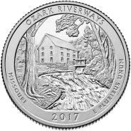 Квотер = 25 центов - 2017 год, Миссури (38 парк - речной заповед Озарк)