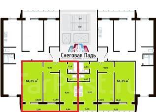 2-комнатная, улица Адмирала Горшкова 38. Снеговая падь, застройщик, 64 кв.м.