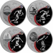 3 рубля Proof - города проведения ЧМ по футболу ( 4 монеты) - FIFA2018