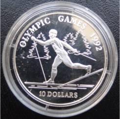 10 долларов. О-ва Кука.1990г. Олимпиада/Бег на лыжах. Серебро. Proof.