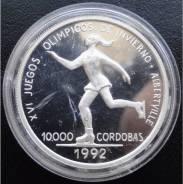 10000 кордоба. Никарагуа.1990г. Олимпиада/Фиг-е катание. Серебро. Proof.