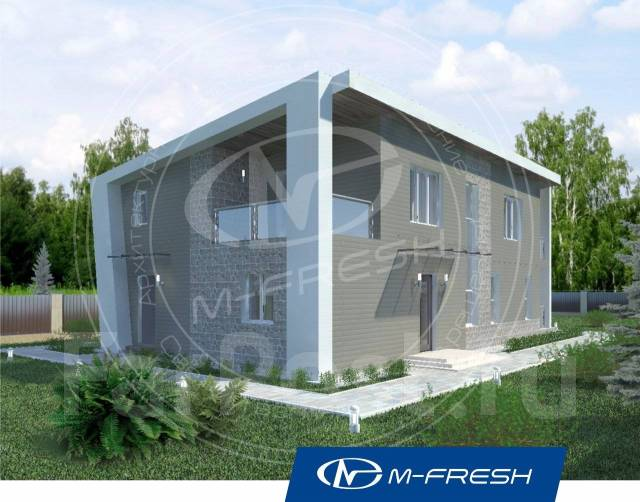 M-fresh Iceberg (Проект современного дома. Отличитесь! ). 200-300 кв. м., 2 этажа, 5 комнат, бетон