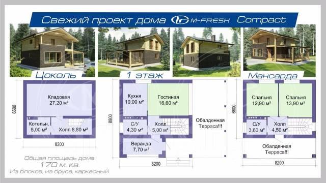 M-fresh Compact (Ярко жить на природе в своём уютном доме! ). 100-200 кв. м., 1 этаж, 3 комнаты, комбинированный
