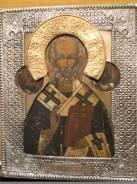 Икона Николай Чудотворец в посеребренном окладе 19в. Оригинал