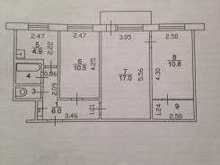3-комнатная, улица Октябрьская 26. Детская поликлиника, частное лицо, 55 кв.м. План квартиры