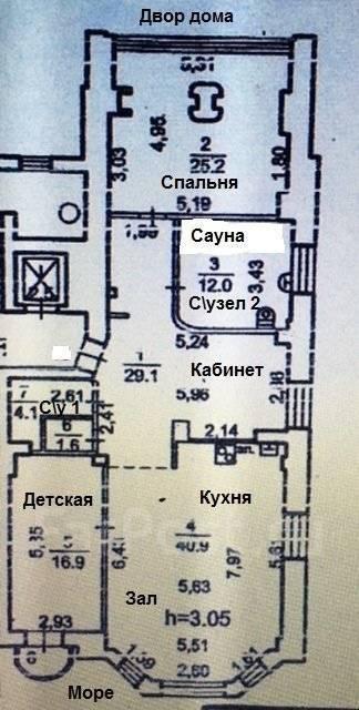 3-комнатная, улица Тигровая 20а. Центр, частное лицо, 130 кв.м. План квартиры