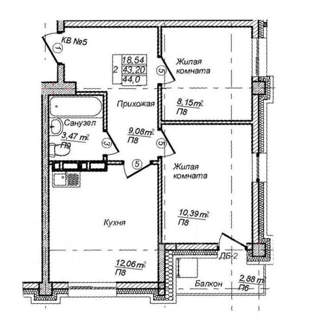 2-комнатная, улица Сафонова 7. Борисенко, агентство, 44кв.м. План квартиры
