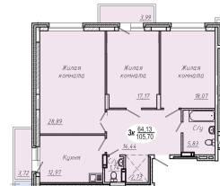 3-комнатная, проспект Красный 179/1. Заельцовский, частное лицо, 105 кв.м. План квартиры