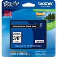 Лента TZE325 Brother 9мм белый на черном для PT-1xxx