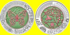 Австрия 25 евро 2017 Mikrokosmos. Космос. Бабочка. Биметалл сереб