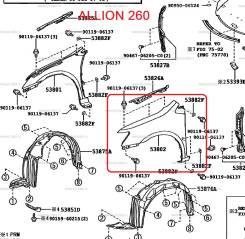 Крыло. Toyota Allion, ZRT260. Под заказ