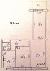 3-комнатная, проспект Московский 32/2. ленинский округ, агентство, 61 кв.м.
