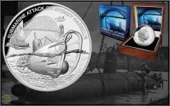 Ниуэ 1 доллар 2017 Подводная лодка в сиднейском заливе. Мост
