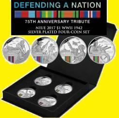 Ниуэ набор 4 по 1 доллар 2017 WWII Defending a Nation Война Самолет