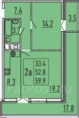 2-комнатная, улица Бородинская 156. ПМР, агентство, 56 кв.м.