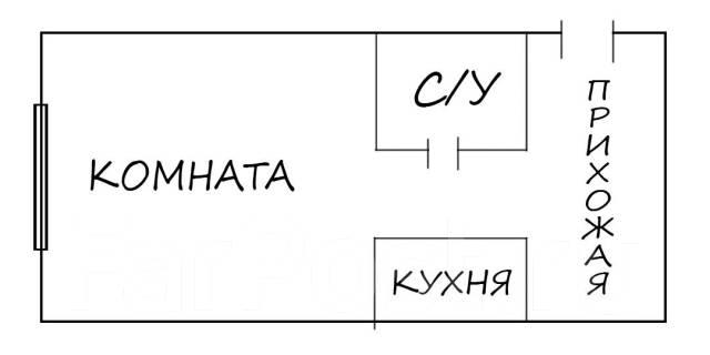 Гостинка, улица Некрасовская 50. Некрасовская, 28кв.м. План квартиры