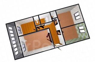 3-комнатная, улица Тургенева 35. ул. Тургенева, агентство, 60 кв.м. План квартиры