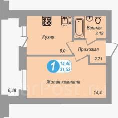 1-комнатная, Морошковая,22. Железнодорожный, агентство, 31 кв.м.