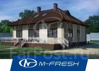 M-fresh TET-A-TET-зеркальный (Проект одноэтажного дома с чердаком). 100-200 кв. м., 1 этаж, 4 комнаты, бетон