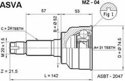 ШРУС НАРУЖНЫЙ 21x52x24 ASVA MZ-04