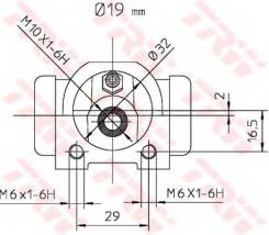Цилиндр тормозной рабочий | зад прав/лев | TRW BWD302