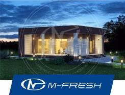 M-fresh Bounty (Купите готовый проект одноэтажного дома! Плоская крыша). 100-200 кв. м., 1 этаж, 3 комнаты, бетон