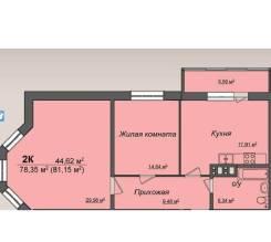 2-комнатная, улица Серафимовича 21. Ленинский, агентство, 81 кв.м.