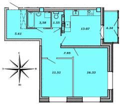2-комнатная, улица Успенского 56б. Океанская, агентство, 62 кв.м. План квартиры