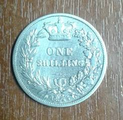 Великобритания (Англия) 1 шиллинг 1865 Victoria. KM 734.3. Серебро