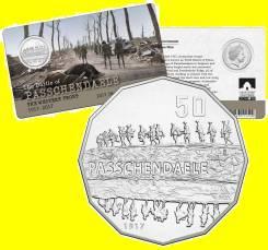 Австралия 50 центов 2017 Passchendaele. Солдат. Война. Карточка