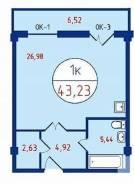 1-комнатная, Зеленая 214. Криводановка, агентство, 43 кв.м.
