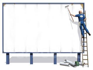 Монтажник со своей автовышкой для монтажа рекламных баннеров