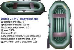 Двухместная надувная гребная лодка. Модель-2(240) ( Россия). Новая. Год: 2017 год, длина 2,40м.
