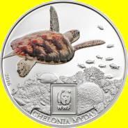 Танзания 100 шиллингов 2016 Черепаха. Рыба. WWF. Эмаль. Пруф