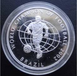 250 шиллингов.2002г. Сомали. ЧМ по футболу 2002г. Серебро. Proof.