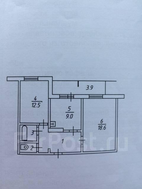 2-комнатная, улица Спортивная 7. Южный, 54кв.м. План квартиры