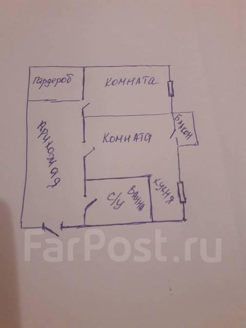 2-комнатная, проспект 100-летия Владивостока 45. Столетие, частное лицо, 44 кв.м. План квартиры