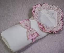 """Одеяло из трикотажа """"велюр"""", с поясом с оборками и бантом из атласа. Рост: 50-60 см. Под заказ"""