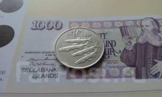 Исландия. 10 крон 1984 года. Мойва. Большая красивая монета!