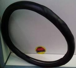 Чехол (оплетка) на руль кожзам черная гладкая размер XXL 45см арт 2402A-9