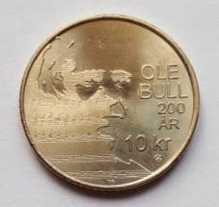 2010 Норвегия 10 крон. Оле Булл 200 лет Композитор