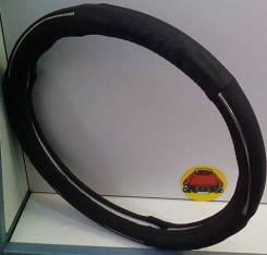 Чехол (оплетка) на руль кожзам черная с хромовой окантовкой размер M 37-38 см арт D02