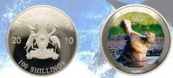 * Уганда 100 шиллингов 2010 Бегемот * Гиппопотам * Медно-никель покрыт