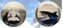 * Уганда 100 шиллингов 2010 Белая Акула * Медно-никель покрытый серебр