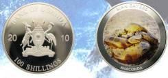 * Уганда 100 шиллингов 2010 Змея Анаконда * Медно-никель покрытый сере