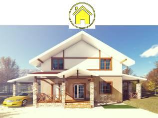 037 Zx AlexArchitekt Красивый двухэтажный дом. 100-200 кв. м., 2 этажа, 3 комнаты, комбинированный